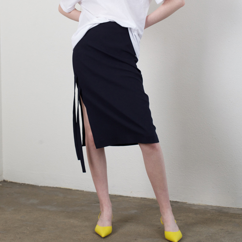 ┃HACER SEOUL┃ 17 SUMMER STRING SLIT SKIRTnavy