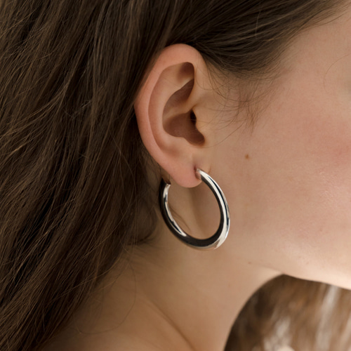 ┃NINETEEN TWO┃ FLAT HOOP EARRINGsilver,gold