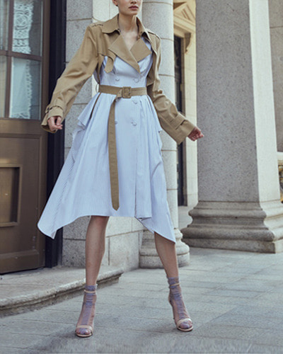 HAEKIM trench dress coat  beige