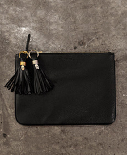 [De'Meriel]Leather Clutch & Tassel setin black