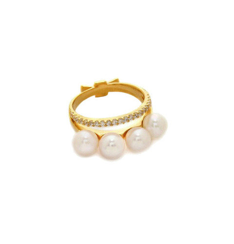 ┃GOLD PHILOSOTHY┃ LAYERED PEARL RING LARGEIN GOLD/WHITE