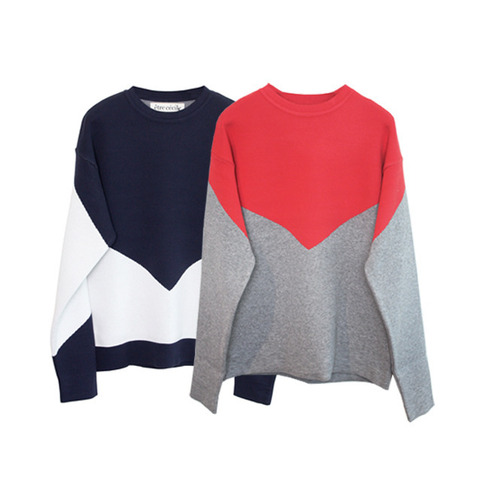 [ETRE CECILE]TWO TONE BOYFRIEND CREW KNITIN 2 COLORS
