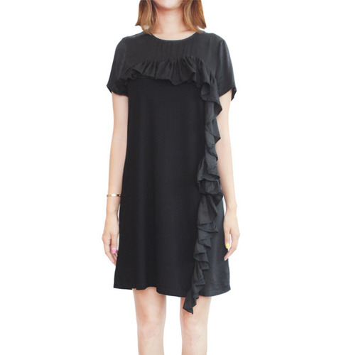 [CLU]MIX MEDIA SILK DRESS WITH RUFFLESIN BLACK