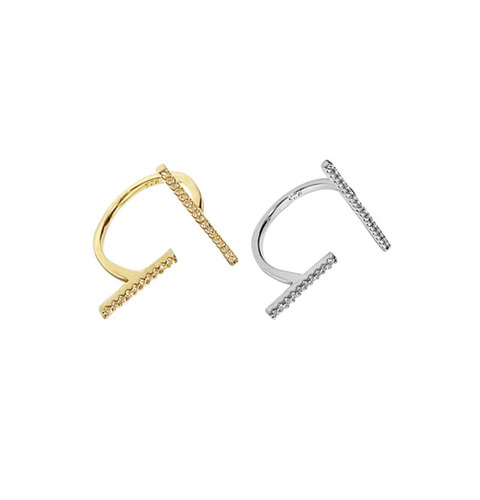 [FALLON]PAVE T BAR RINGIN 2 COLORS