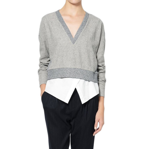 [DEREK LAM]2 IN 1 SWEATSHIRTIN GREY MELANGE