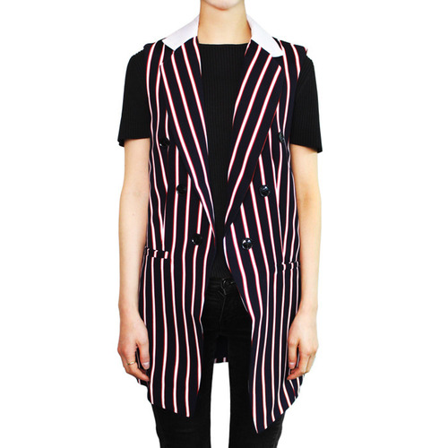 [ENGLISH FACTORY]JERKIN STRIPE VEST JACKETIN NAVY