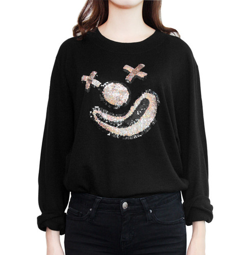 [MARKUS LUPFER]CLOWN FACE SEQUIN JOEY JUMPERIN BLACK