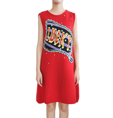 [MICHAELA BUERGER]LADY LUCKY KNIT DRESSIN RED