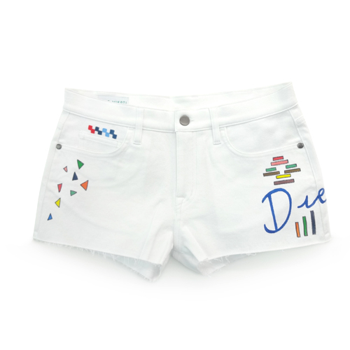 │MIRA MIKATI│HAND PAINTED DREAMER MINI SHORTSWHITE