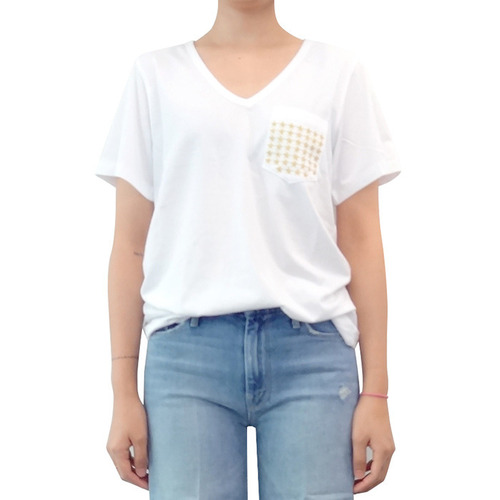 │GLANCE│V-NECK STAR EMBROIDERY TEEwhite