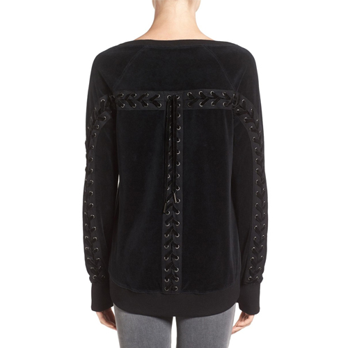 ┃PAM&GELA┃ BACK LACE UP VELOUR SWEATSHIRTblack