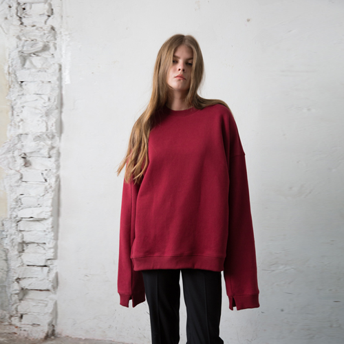 ┃HACER SEOUL┃ 16 WINTER CUTTING SWEATSHIRTSwhite,black,khaki,wine