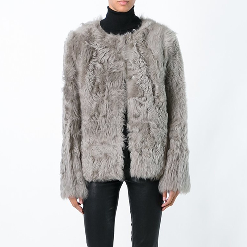 ┃YVES SALOMON┃ ROUND NECK FUR JACKETtilleul
