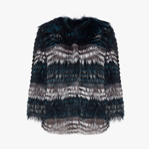 ┃YVES SALOMON ┃ STRIPED FOX FUR JACKET