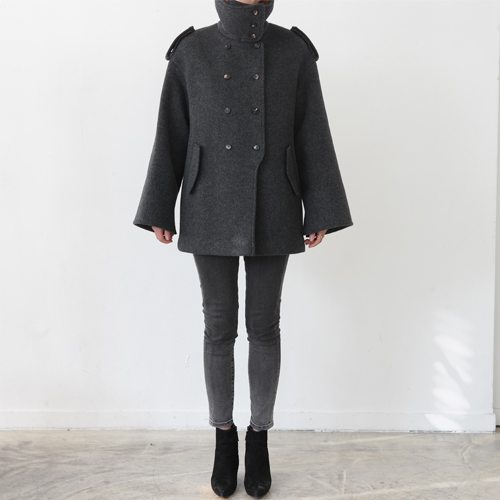 ┃JO5┃ HIGH-NECK DOUBLE COAT