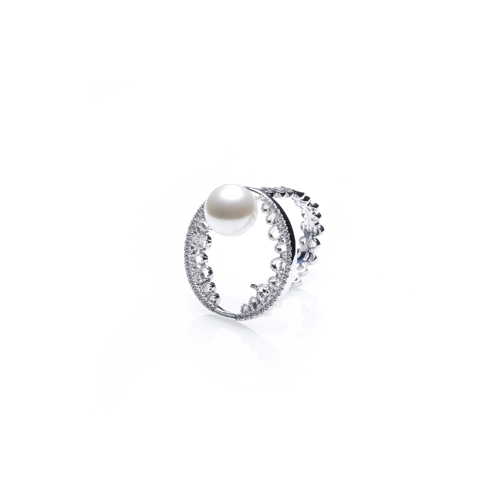 ┃QUEEN ANNES LACE┃ NOUVEAU OPEN PEARL RING