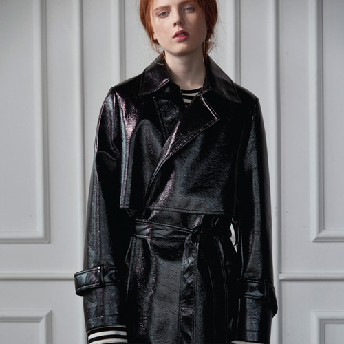 ┃CLUE DE CLARE┃ PATENT LEATHER TRENCH COAT black, navy