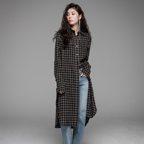 ┃JO5┃ LONG SHIRT DRESSkhaki check