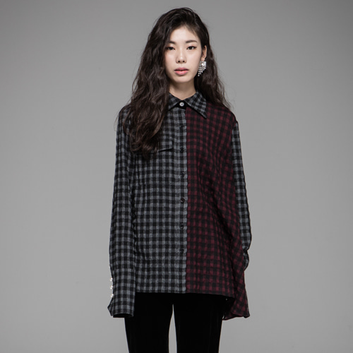 ┃JO5┃ UNBALABCED SHIRTgrey+wine check