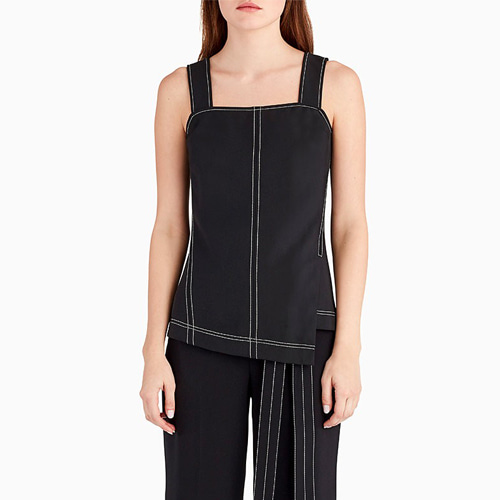 ┃GREY JASON WU┃ ASYMETRICAL TANK WITH TOP STITCHblack