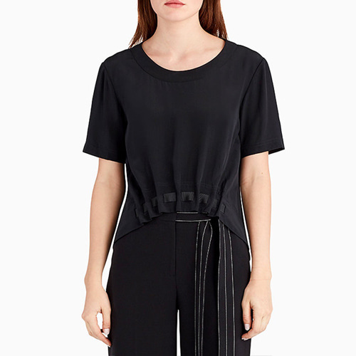 ┃GREY JASON WU┃ SILK SHORT SLEEVE TOP black