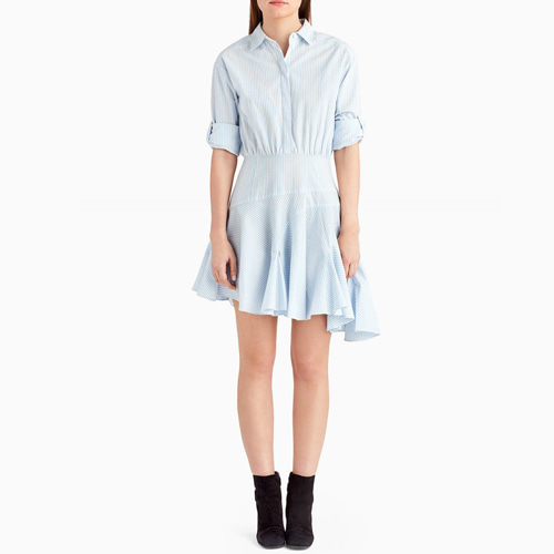 ┃GREY JASON WU┃ WIDE STRIPE COTTON ASYMMETRICAL DRESSblue