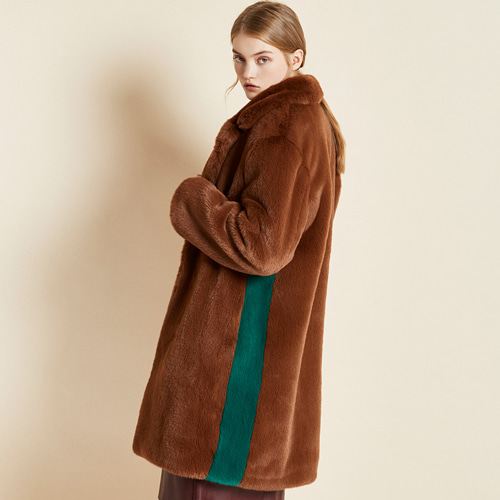 ┃CLUE DE CLARE┃ COLOR BLOCK FUR COATbrown