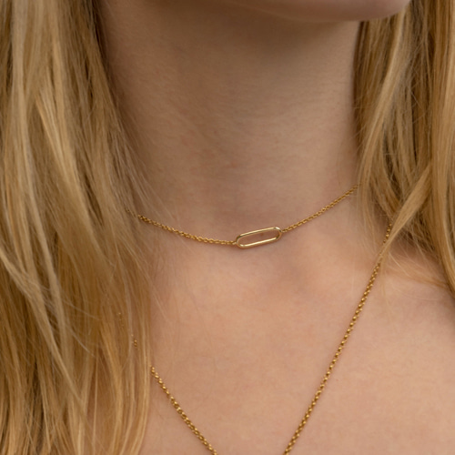 ┃NINETEEN TWO┃ 14K GOLD OVAL PIN NECKLACE14K gold