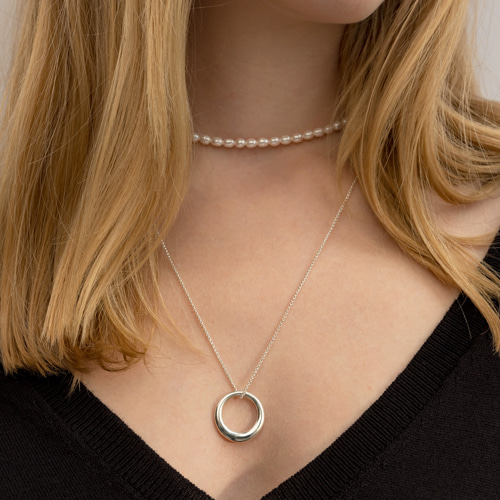 ┃NINETEEN TWO┃ ROUND RING NECKLACEsilver, gold