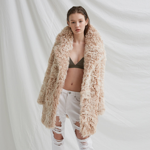 ┃BLUSHED┃ LAMB FUR COATbeige