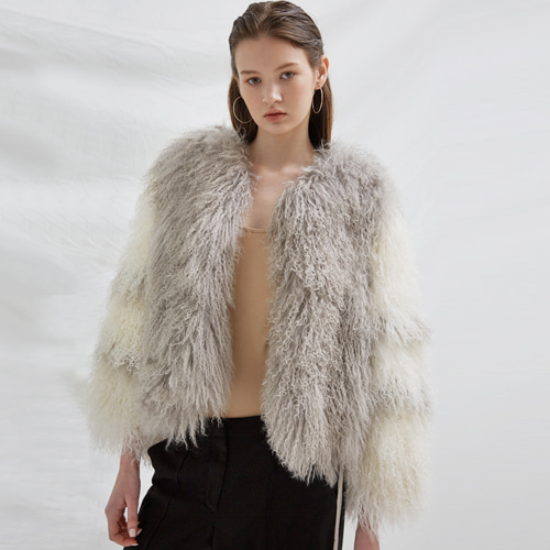 ┃BLUSHED┃ TIBET LAMB FUR JACKETwhite