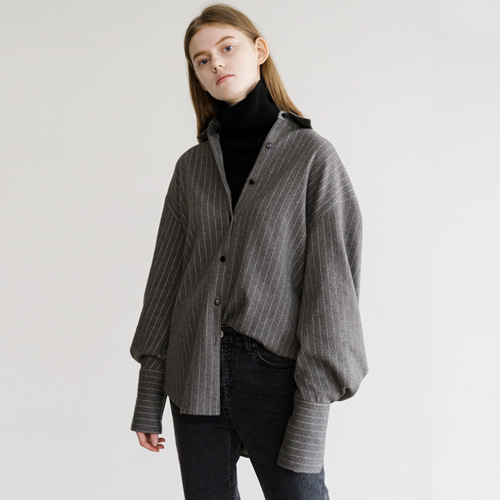 ┃HACER SEOUL┃ 17 WINTER BALLOON SLEEVE STRIPE SHIRTSgrey