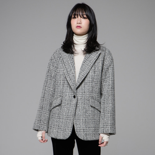 ┃JO5┃ SINGLE SHORT COATgrey check
