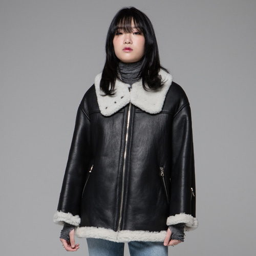 ┃JO5┃ HIGH -NECK SHEARLING JACKETwhite