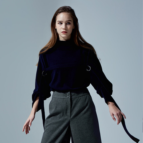 ┃HAEKIM┃ WOOL D-RING KNIT PULLOVER  navy