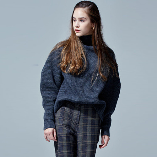 ┃HAEKIM┃ WAVE SLEEVE WOOL KNIT grey