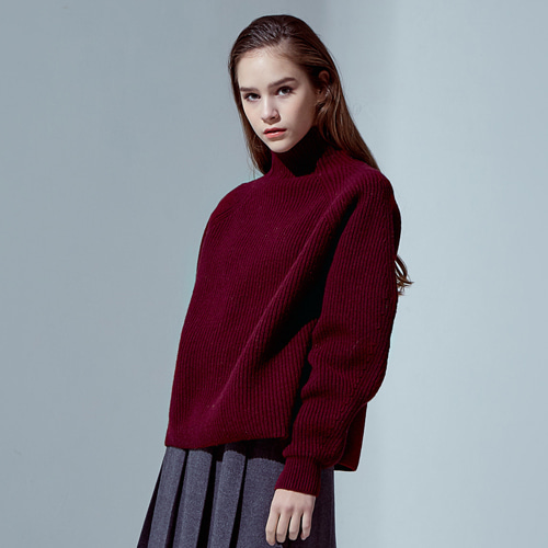 ┃HAEKIM┃ WAVE SLEEVE WOOL KNIT burgundy