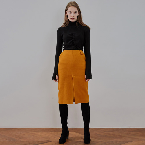 ┃MAISON MARAIS┃ WOOL SLIT SKIRTgolden yellow