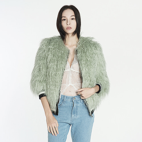 ┃BLUSHED┃ CURLY FUR JUMPERmint green