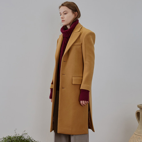 ┃MAISON MARAIS┃ SINGLE WOOL COATcamel