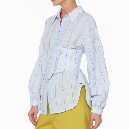┃TIBI┃ STRIPE SHIRTING SHIRTblue stripe multi