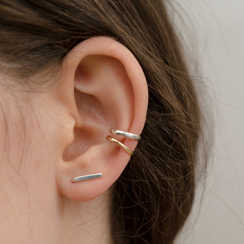 ┃NINETEEN TWO┃ BAR EARRING (SINGLE)silver,gold