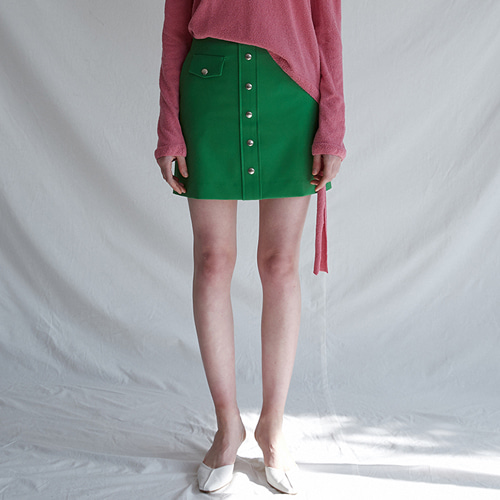 ┃MAISON MARAIS┃ FAKE SNAP SKIRTgreen