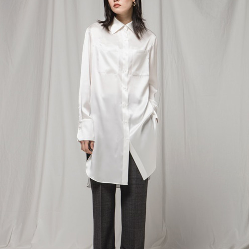 ┃JO5┃ LONG SILK SHIRTwhite