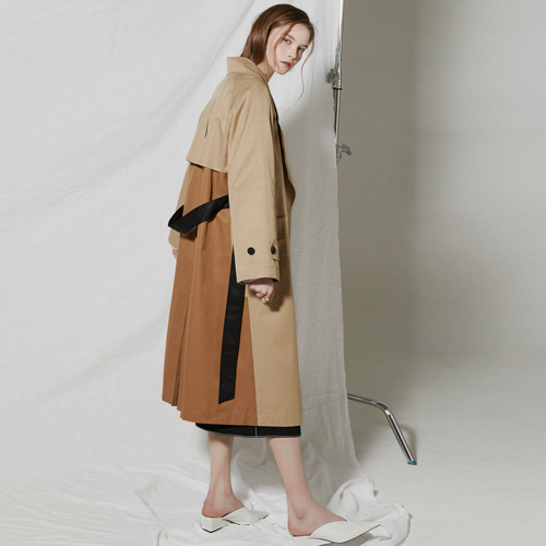 ┃CLUE DE CLARE┃ COLOR BLOCK TRENCH COATbeige, khaki