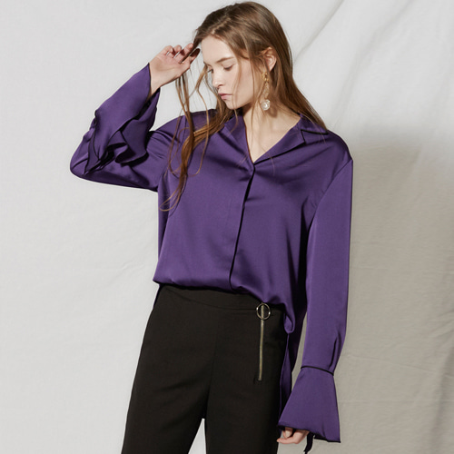 ┃CLUE DE CLARE┃ FLARE CUFFS BLOUSE white, purple