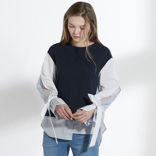 ┃CLUE DE CLARE┃ SLIT SLEEVE SWEAT SHIRT navy,gray