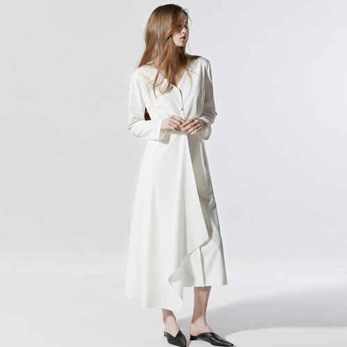 ┃CLUE DE CLARE┃ MINIMAL LONG DRESS white,black