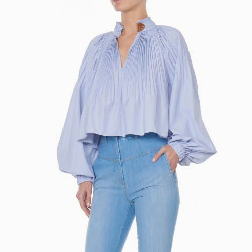 ┃TIBI┃ ISABELLE SHIRTING TOPblue white multi