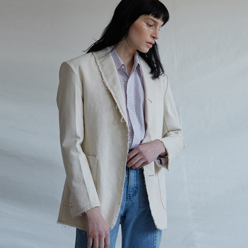 ┃MAISON MARAIS┃ NATURAL SHAWL COLLAR JKcream